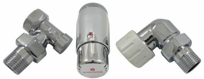 """Zestaw termostatyczny osiowo lewy GZ 1/2"""" x GW 1/2"""" chrom z głowicą mini"""