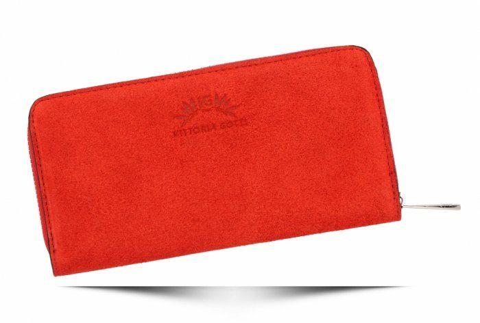 Uniwersalne Portfele Skórzane firmy VITTORIA GOTTI Czerwony (kolory)