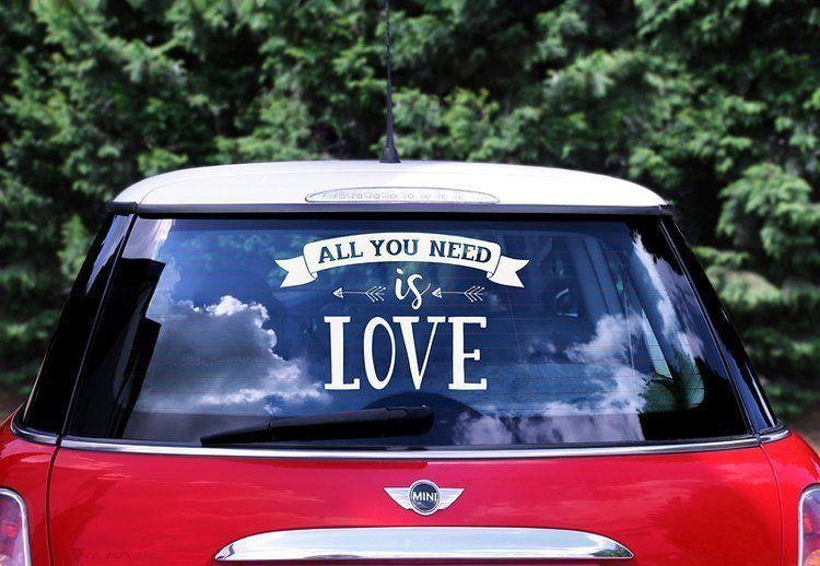 Naklejka ślubna na samochód - All you need is love 1szt. CS1-008