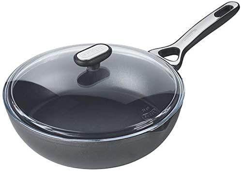 Pyrex Oryginalny + patelnia do duszenia ze zdrową powłoką zapobiegającą przywieraniu - do wszystkich rodzajów kuchenek, w tym indukcyjnych - aluminium - kwarc szary - 26 cm
