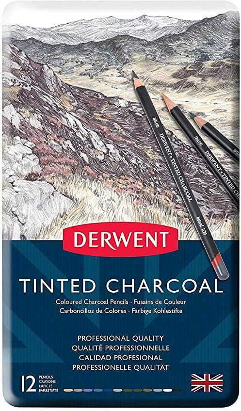 Derwent, 12 Kolorowych Węgli w Kredce Derwent Tinted Charcoal, Wodorozpuszczalne, Idealne do Rysowania i Mieszania Barw, Metalowe Pudełko (2301690)