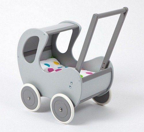 Drewniany wózek dla lalek. Szara budka-zabawki dla dziewczynek