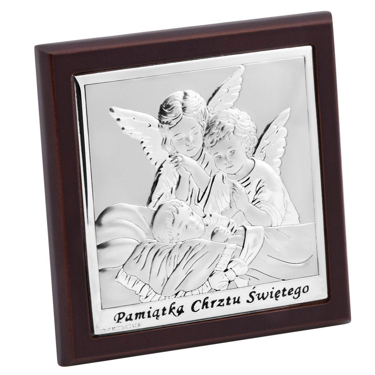 Obrazek Srebrny Aniołki 10x10 cm Pamiątka Chrztu Grawer