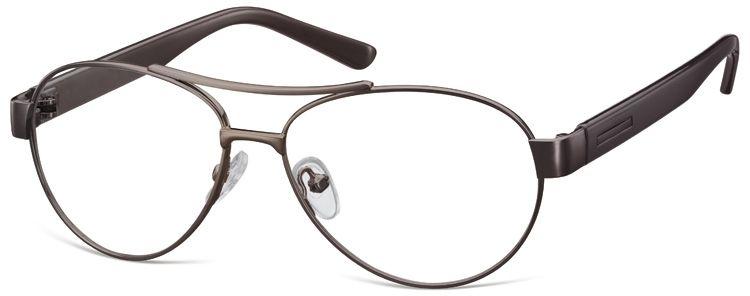 Małe Okulary oprawki Pilotki metalowe korekcyjne M380B brązowe