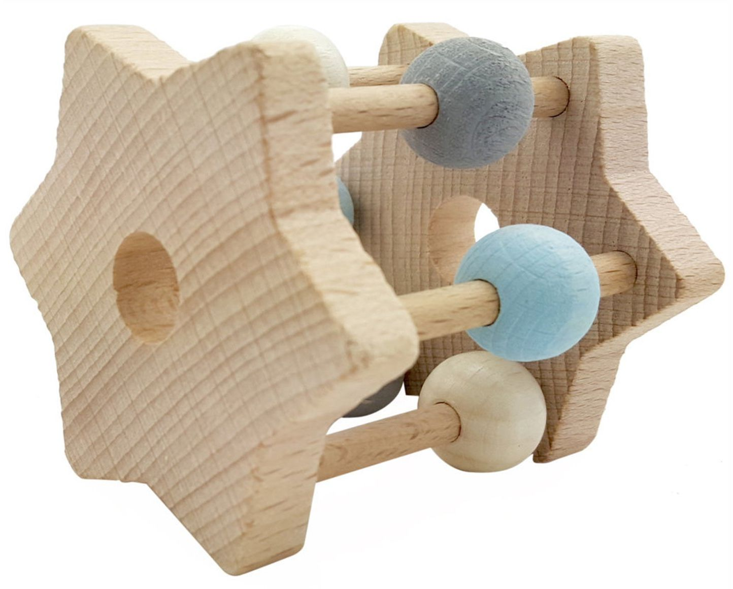 Hess 11002 - drewniana zabawka, grzechotka z gwiazdą z drewna, naturalny niebieski