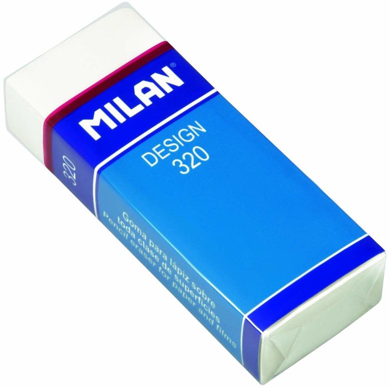 A.C. Milan Caja 20 gomas de plástico para oficina, blanco con funda y celofán, biały