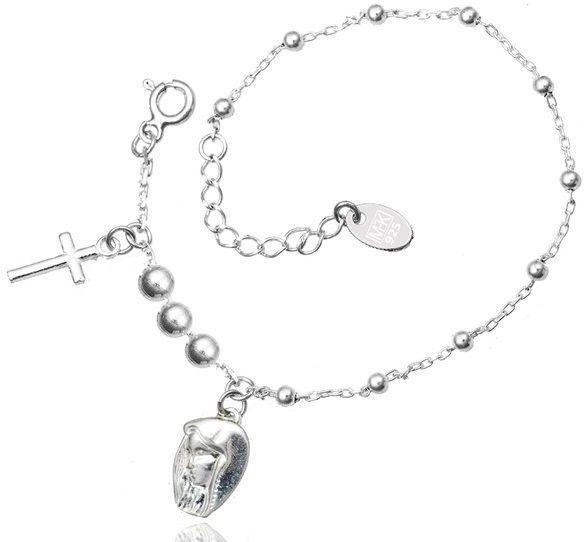 1164 bransoletka srebrna 925 z krzyżykiem