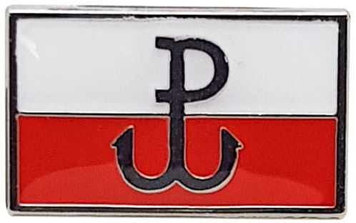 Przypinka flaga prosta Powstanie Warszawskie
