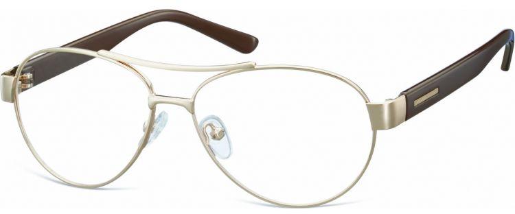 Małe Okulary oprawki Pilotki metalowe korekcyjne M380C złote