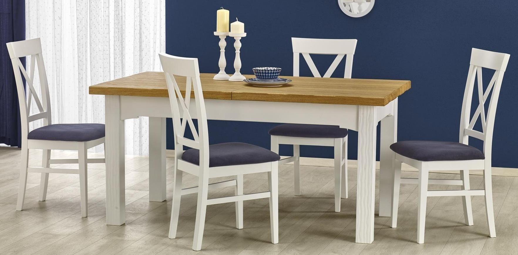 Zestaw: stół rozkładany Leonardo i 4 krzesła Bergamo Halmar