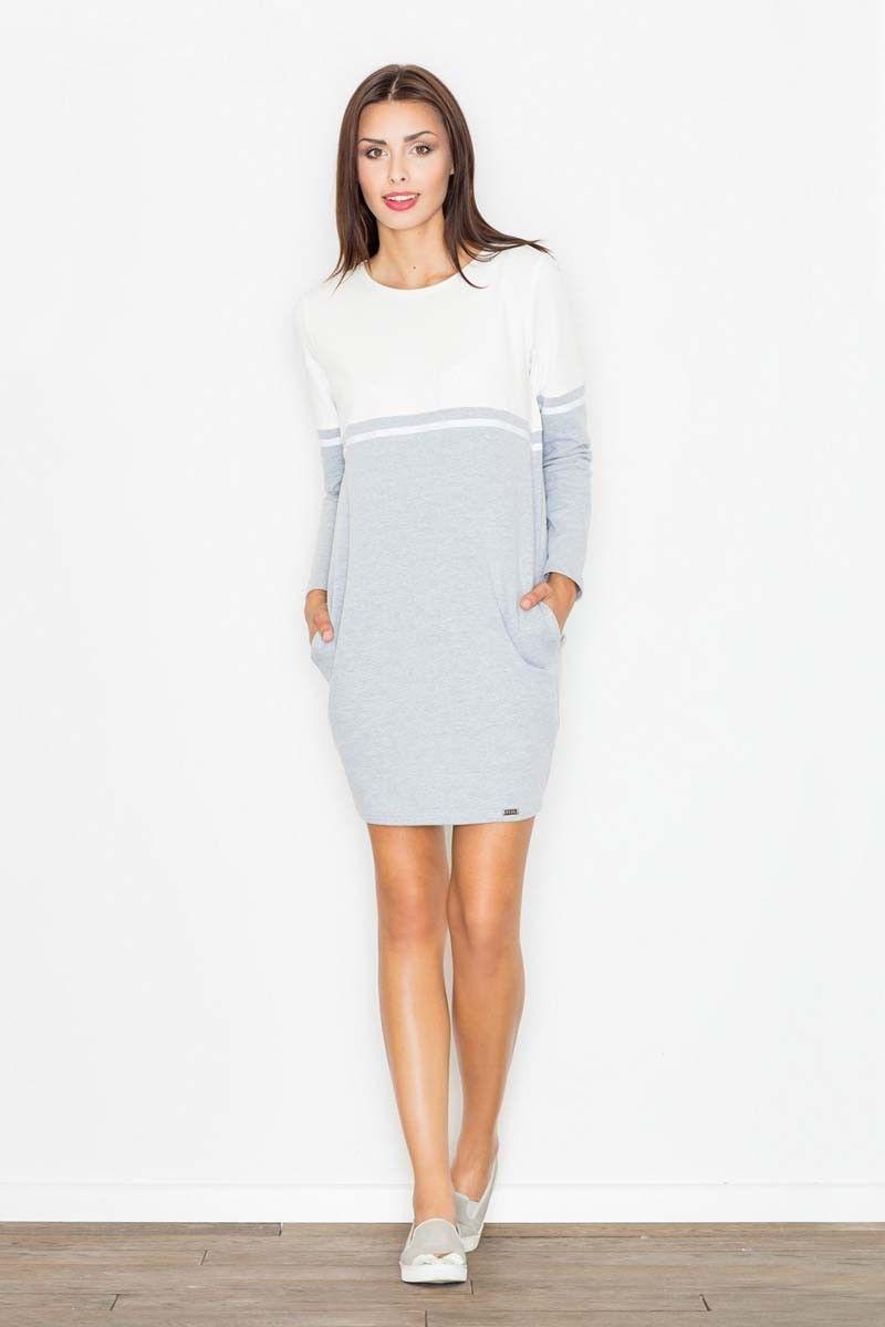 Biało-szara sukienka pudełkowa górą