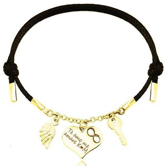 1151 bransoletka grawerowana złota srebro 925 na sznurku serce skrzydło kluczyk