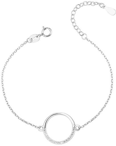 Rodowana srebrna bransoletka szczęścia gwiazd celebrytka kółko circle ring cyrkonie srebro 925 Z1456B