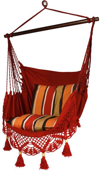 Fotel hamakowy boho, Czerwony AHC-11