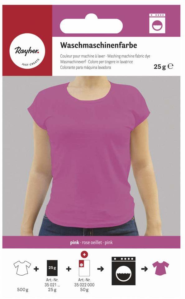 Rayher 35021264 farba do pralek, różowa, torebka 25 g, farba tekstylna pralka, barwnik tekstylia