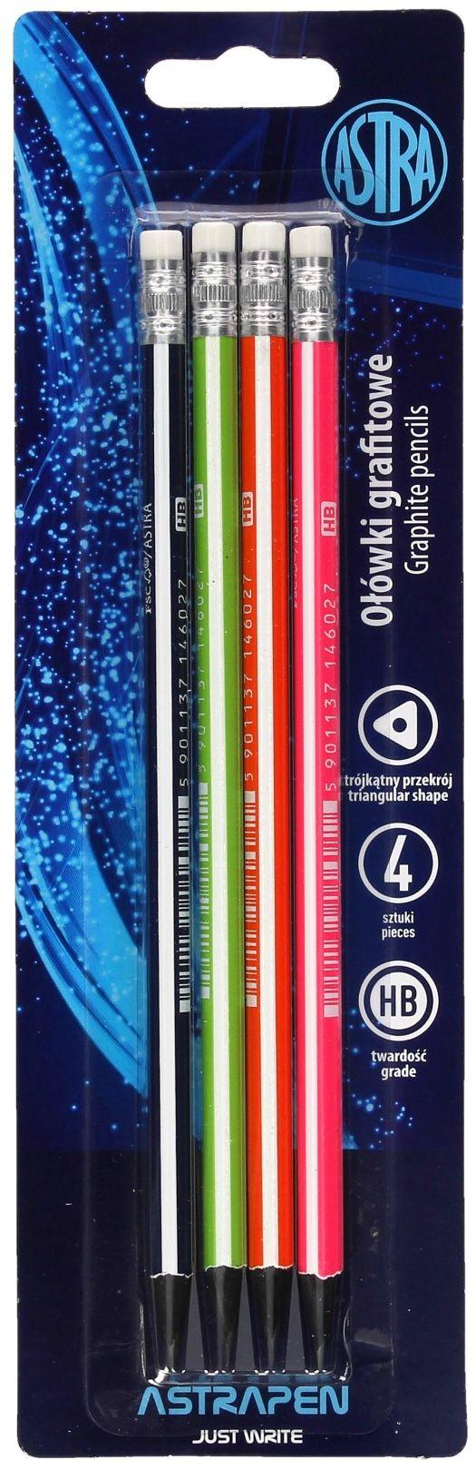 Ołówki grafitowe HB z gumką czarne drewno Astra - 4 szt.