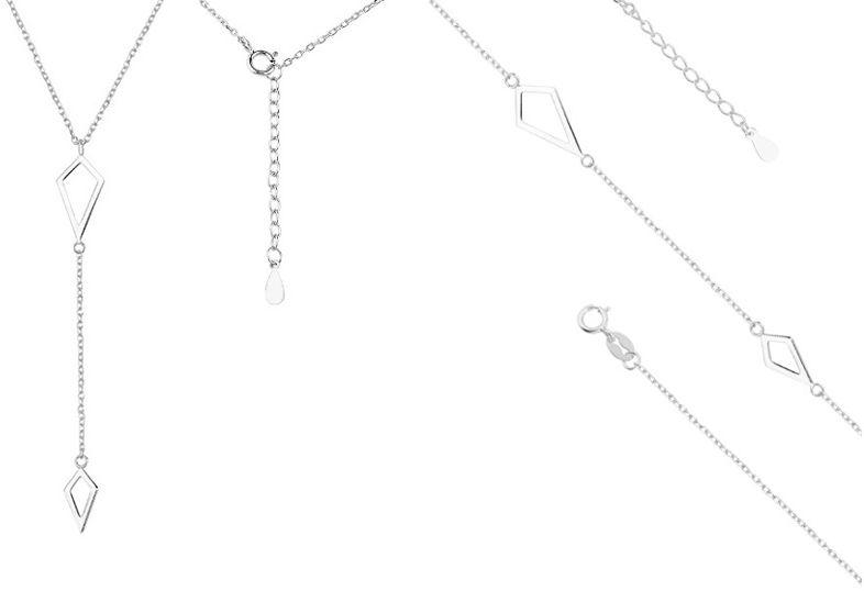 Delikatny rodowany srebrny komplet celebrytka gładkie romby romb srebro 925 Z1472Z