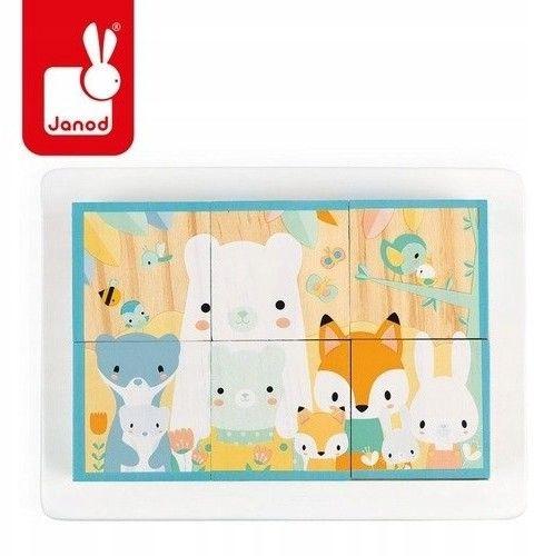 Klocki drewniane puzzle 6w1 Pure 6 elementów Janod