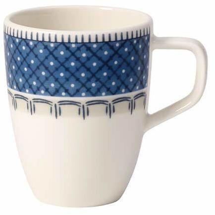 Villeroy & Boch Casale Blu filiżanka do kawy mokka/espresso, 100 ml, porcelana premium, biała/niebieska
