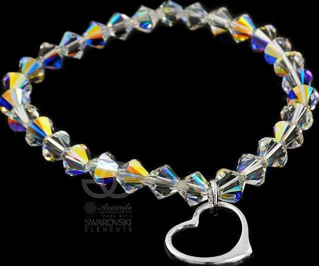 SWAROVSKI piękna bransoletka Aurora SERCE SREBRO