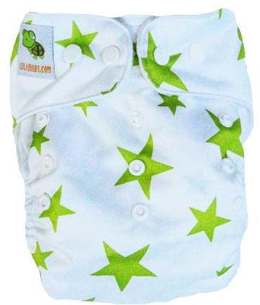 pieluszka wielorazowa PUL zielone gwiazdki