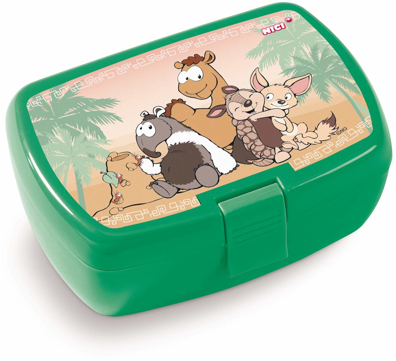 NICI 45456 Pudełko na lunch, Armadillo, Mrówrówki i Fennec, 18 x 12,5 x 6,5 cm, zielone