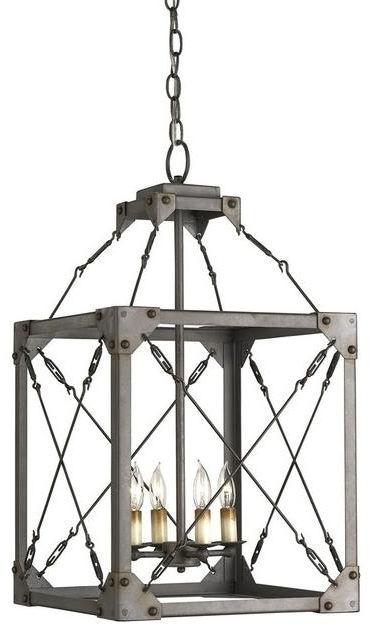 Kandelabr w klatce - industrialny żyrandol