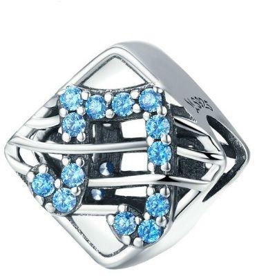 Rodowany srebrny charms do pandora kostka cube nutka nuta błękitne cyrkonie srebro 925 BEAD177