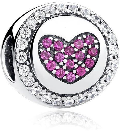 Rodowany srebrny charms do pandora serce serduszko heart rubinowe cyrkonie srebro 925 GS015