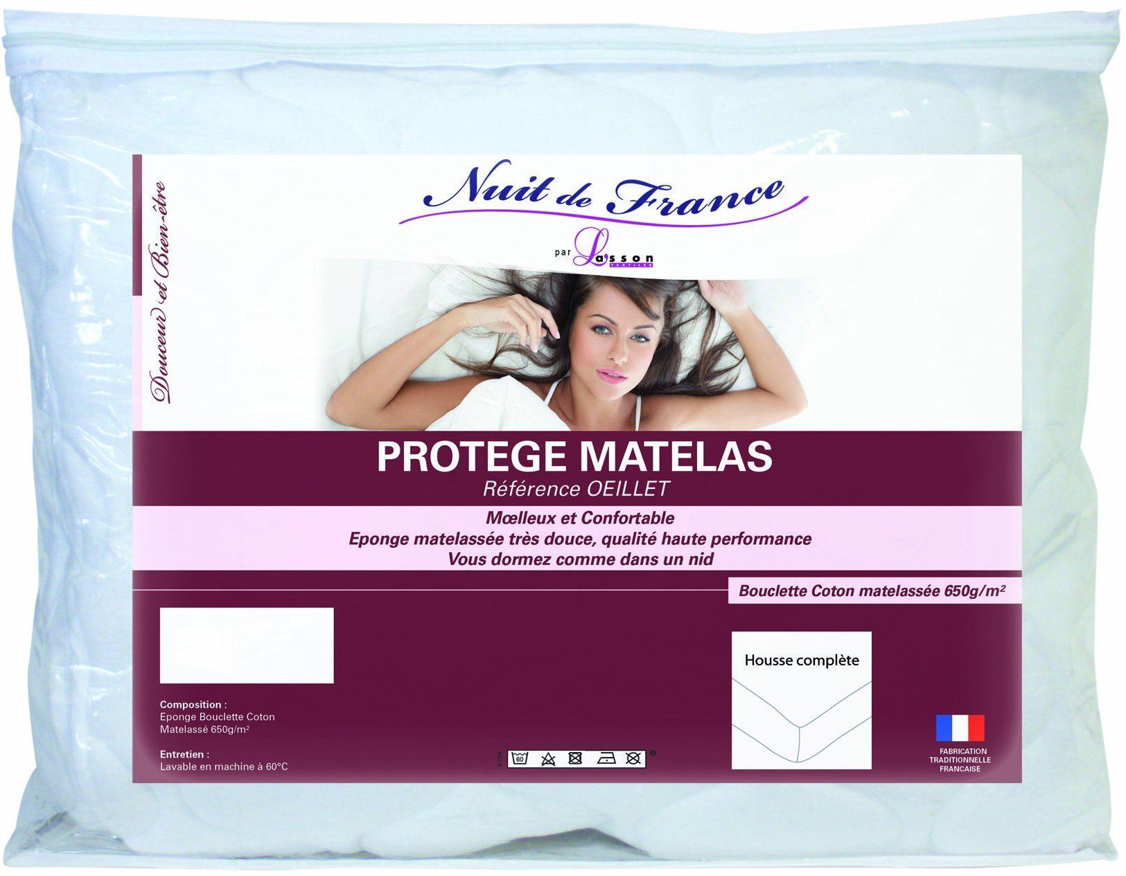 Nuit de France 329376 ochraniacz na materac bawełna/poliester, biały, 140 x 190 cm