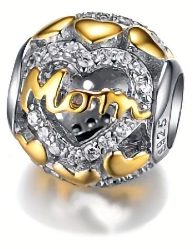 Rodowany pozłacany srebrny charms do pandora serce dla mamy cyrkonie srebro 925 GS065