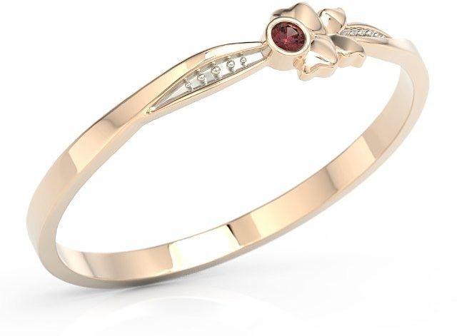 Pierścionek motylek z różowego złota z czerwoną cyrkonią bp-89p-r-c