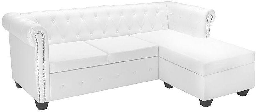 Narożnik z leżanką w stylu Chesterfield Charlotte 4Q - biały