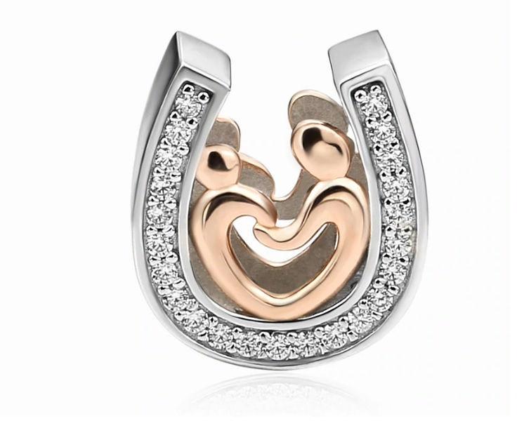 Rodowany pozłacany srebrny charms do pandora matka z dzieckiem cyrkonie srebro 925 BEAD69