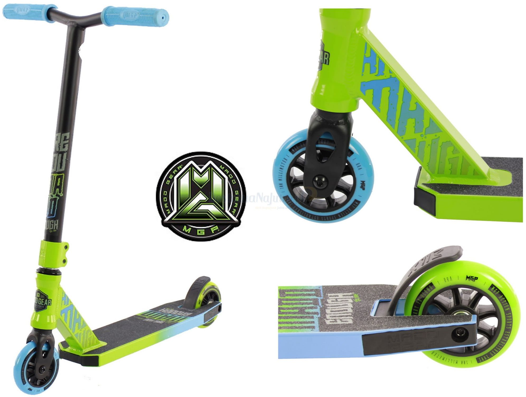 Hulajnoga wyczynowa Madd Gear Kick Rascal aluminiowa zielono niebieska