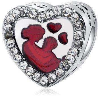 Rodowany srebrny charms do pandora serce heart matka z dzieckiem cyrkonie srebro 925 GS051