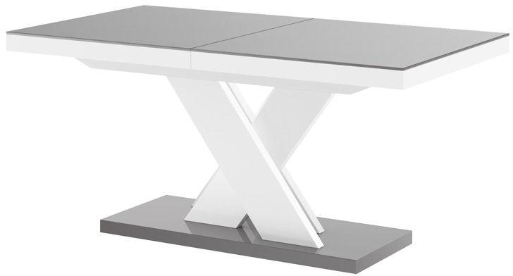 Stół rozkładany XENON LUX szaro-biały wysoki połysk