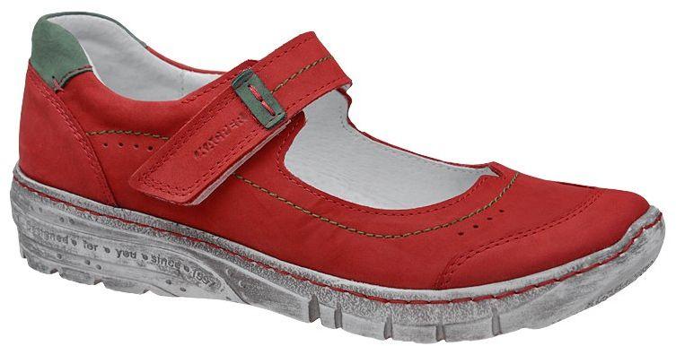 Baleriny KACPER 2-5466-489+723 Czerwone Półbuty na rzepy Balerinki