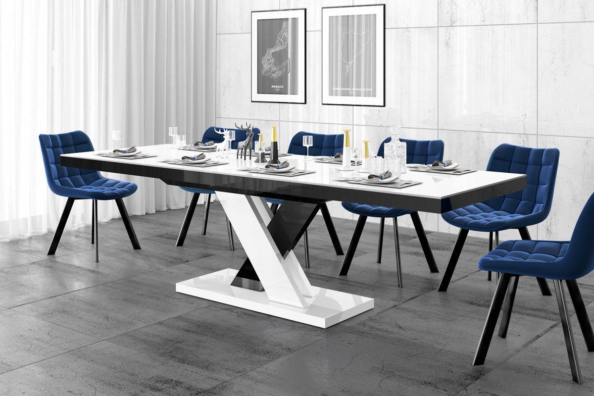 Stół rozkładany XENON LUX biało-czarny (nogi mieszane) wysoki połysk