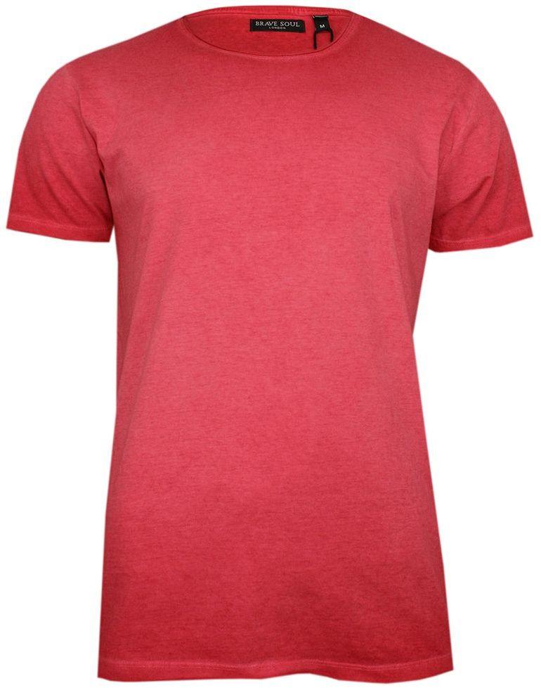 Czerwony T-Shirt (Koszulka) Bez Nadruku -BRAVE SOUL- Męski, Okrągły Dekolt, Krótki Rękaw TSBRSSS20RADICALBred