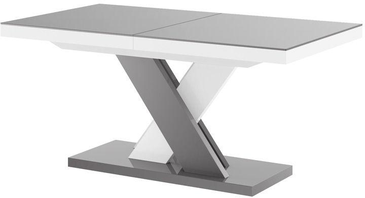 Stół rozkładany XENON LUX Szaro-biały / nogi mieszane wysoki połysk