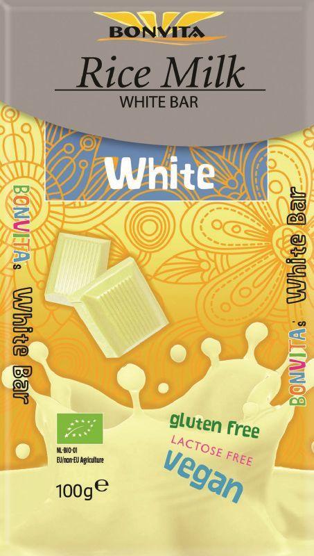Tabliczka biała bez laktozy bezglutenowa na napoju ryżowym bio 100 g - bonvita