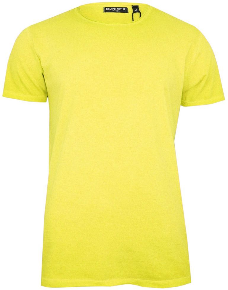 Żółty T-Shirt (Koszulka) Bez Nadruku -BRAVE SOUL- Męski, Okrągły Dekolt, Fluo, Intensywny Kolor TSBRSSS20RADICALBlightyellow