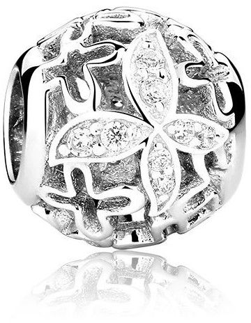 Rodowany srebrny charms pandora kulka kuleczka motyl motylek cyrkonie srebro 925 GS017-2