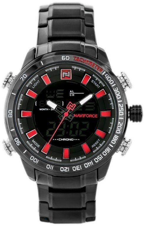 ZEGAREK MĘSKI NAVIFORCE - NF9093 (zn041d) - black/red