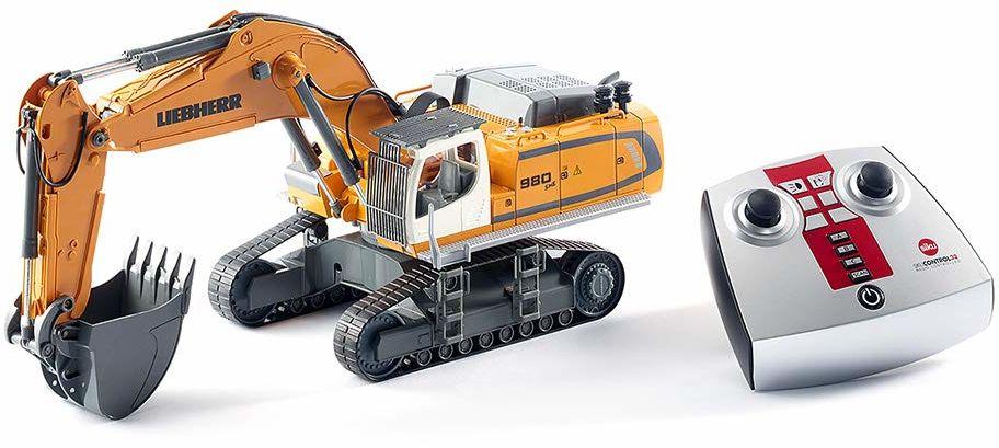 siku 6740, Liebherr R980 SME koparka gąsienicowa model zabawkowy, zdalnie sterowana, 1:32, z modułem zdalnego sterowania, metal/tworzywo sztuczne, zasilanie bateryjne, wiele funkcji, żółty