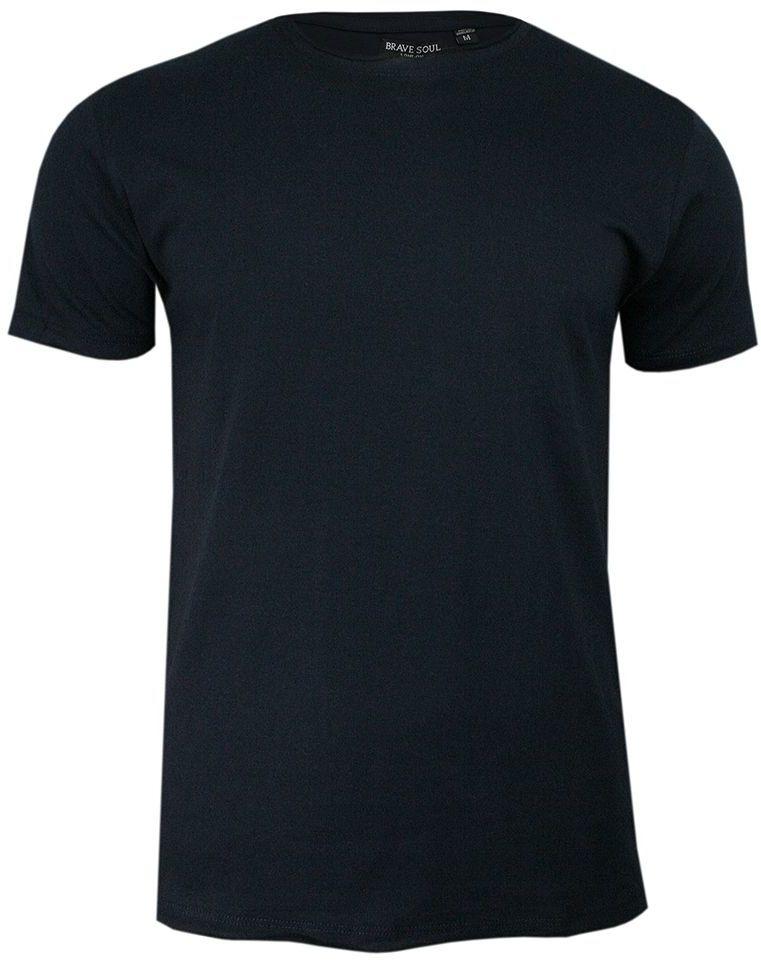 Granatowy T-Shirt (Koszulka) Bez Nadruku -BRAVE SOUL- Męski, Okrągły Dekolt, Postrzępione Brzegi TSBRSSS20FRESHERJrichnavy