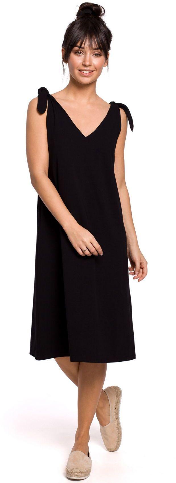 B148 Sukienka na wiązanych ramiączkach - czarna