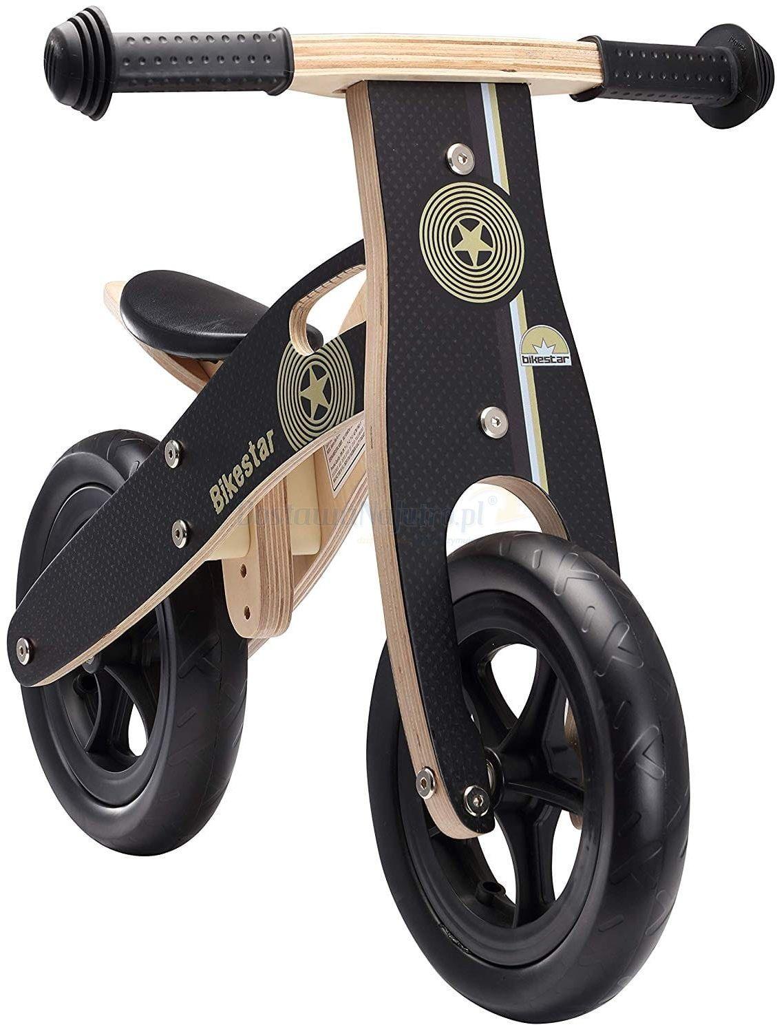 """Rowerek biegowy dwukołowy Bike Star 10"""" drewniana rama czarny"""