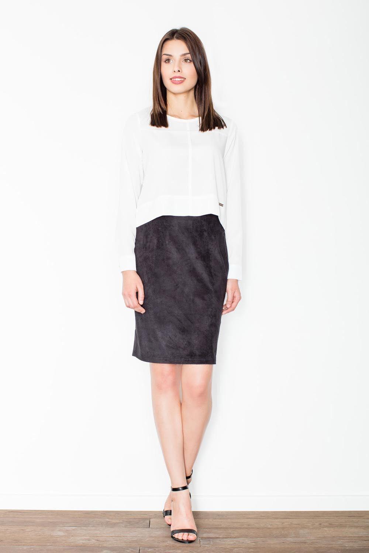 Czarna ołówkowa midi spódnica z imitacji zamszu